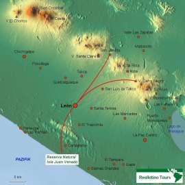 Reisekarte León und die schöne Umgebung sind sehr beliebt in Nicaragua