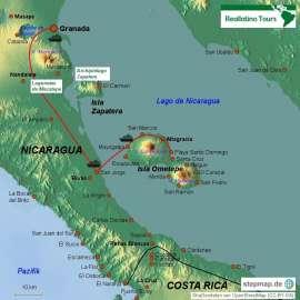 Reisekarte Insel Ometepe im Nicaragua-See