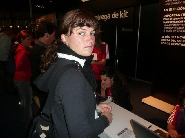 Christina Feger bei der Startnummernausgabe