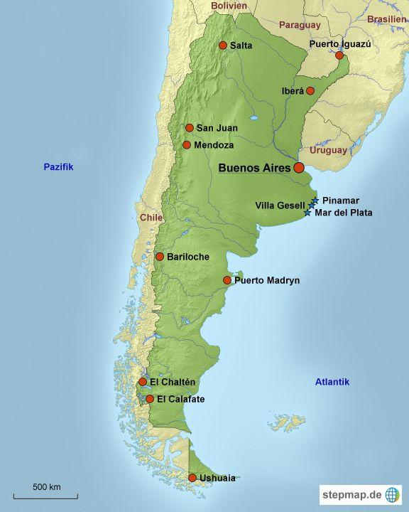 Karte: Reiseziele in Argentinien