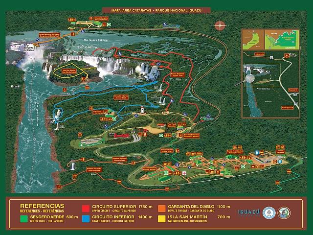 Detaillierte Karte Iguazu Wasserfälle