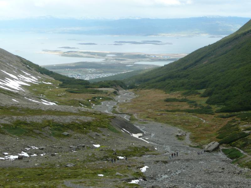 Blick vom Gletscher Martial auf Ushuaia, Argentinien