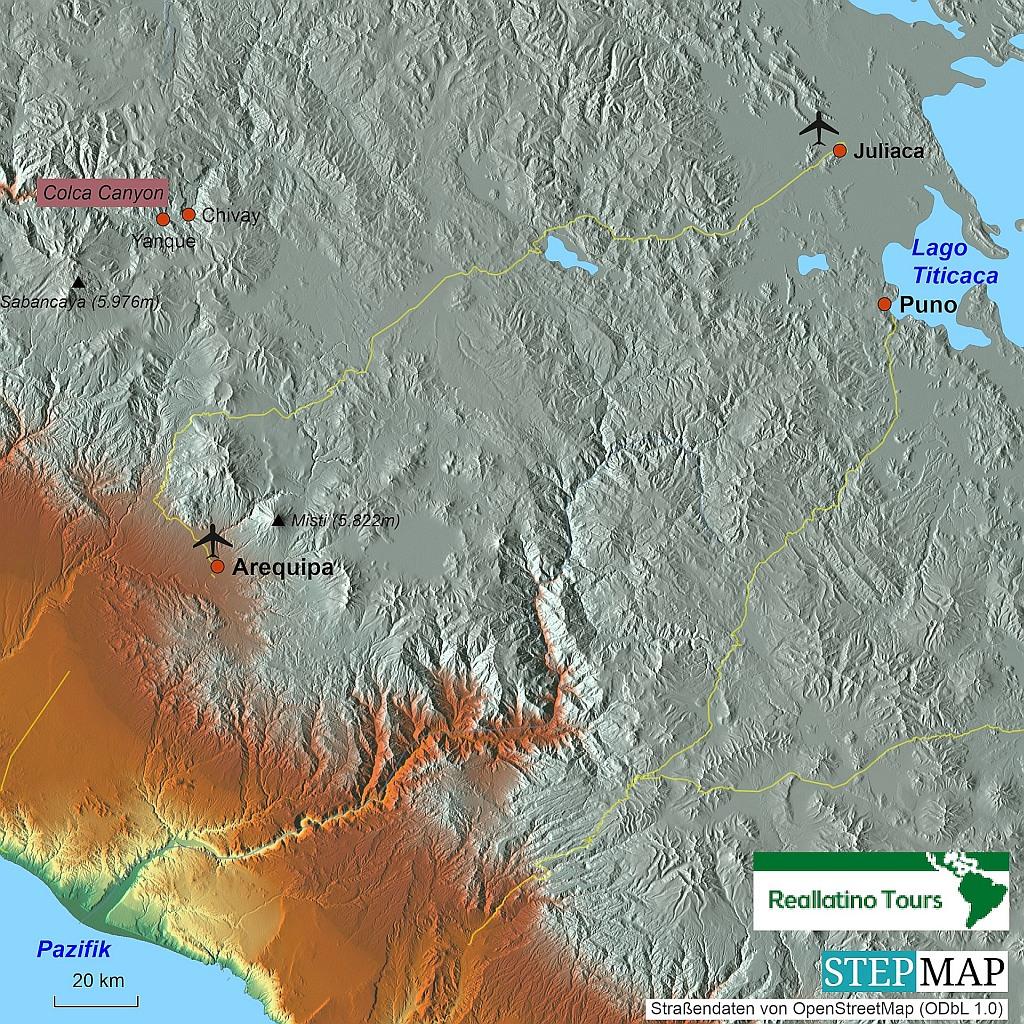 Lage von Chivay in Peru