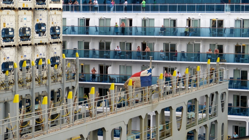 Schiffe Panamakanal Miraflores Schleusen, Panama Stadt
