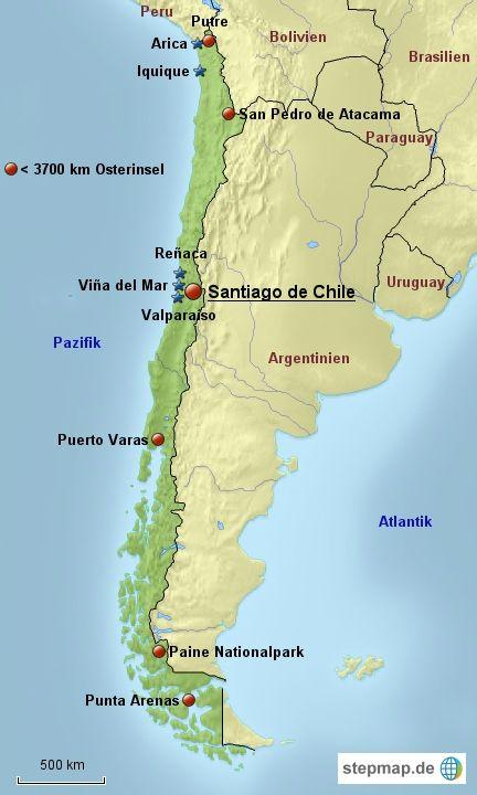 Karte: Reiseziele in Chile
