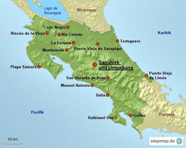Karte: Reiseziele in Costa Rica