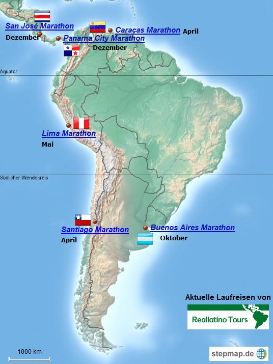Kartenauswahl für die Laufreisen nach Südamerika und in die Karibik