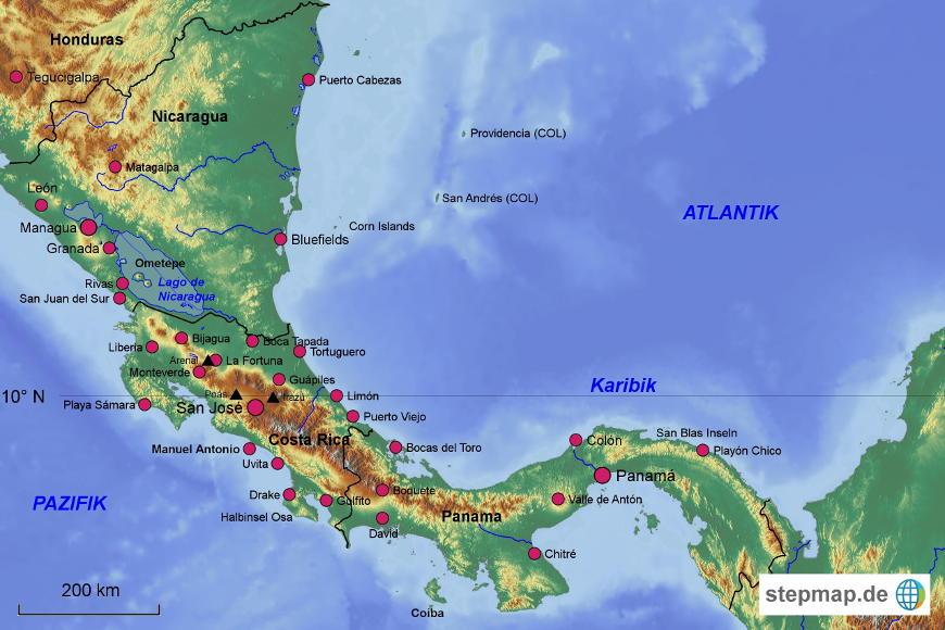 Mittelamerika Karte